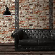 muriva just like it red brick wooden beam faux effect wallpaper j71508