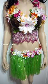 Coconut Halloween Costume Hula Coconut Flower Bra Skirt Cosplay Dance Costume Rave