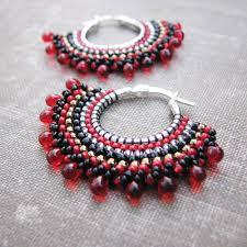 hoop beaded earrings crimson beaded hoops sterling earrings boho style a flickr