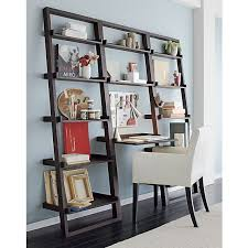 Leaning Bookshelf With Desk Decorating With Leaning Ladder Shelves Leaning Shelves Are