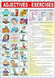worksheet adjectives exercises