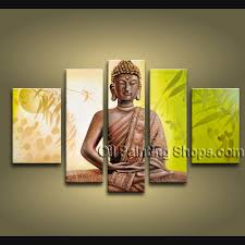 feng shui buddha oil painting 1061 this 5 panels canvas wall art
