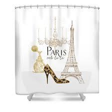 Fashion Shower Curtains Paris Ooh La La Fashion Eiffel Tower Chandelier Perfume Bottle