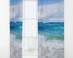 beach curtains etsy
