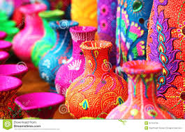 colorful colors colorful artistic pots or flower vases in vibrant colors stock
