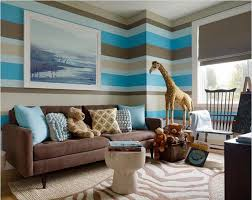 adorable living paint color idea with cool stripes wall pattern in