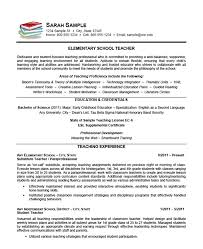 Sample Resume For Teaching Profession For Freshers by Elementary Teacher Resume Example Sample