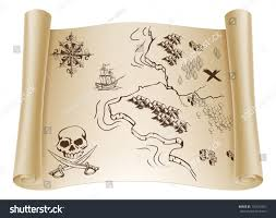 Old Treasure Map Illustration Old Treasure Map On Rolled Stock Vector 130124207