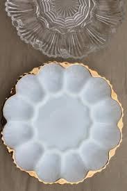 antique deviled egg plate glass egg plates clear glass deviled egg trays milk glass