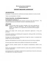 Supervisor Job Description Resume by Stylish Mechanic Job Description Resume Resume Format Web