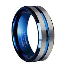 blue tungsten rings images Queenwish 8mm blue tungsten wedding bands silver brushed jpg