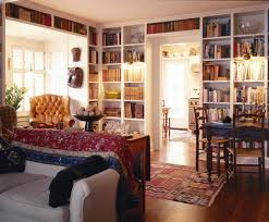 Bookshelves Around Window Living Room With Dark Wood Trim Molding Taupe Built Ins Flanking