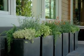 tall outdoor planters spaces rustic with black bowl planter