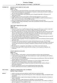 client service manager resume sles velvet jobs