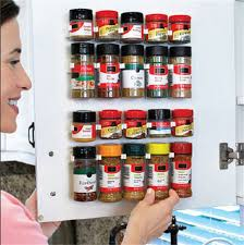 4x spice jar wall rack storage organizer kitchen cabinet door