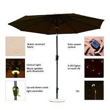 Patio Umbrella Solar Lights by Outsunny 9 U0027 Solar Led Market Patio Umbrella W Bluetooth Patio