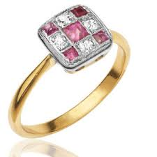 original art deco ruby and diamond trilogy ring helen badge