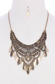 necklace metal images Antique metal pointed oval shape dangle bib statement necklace jpg