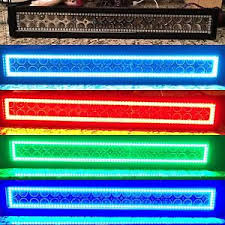 multi color led light bar 20 22 led light bar with halo rgb multicolor halo jeep chevy ford