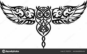 Patterned Flying Owl Drawing Illustration Isolated Owl In Flight Celtic Style Stock Vector K Ssss 159242016