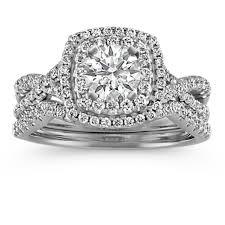 rings wedding set images Square double halo infinity diamond wedding set shane co jpg