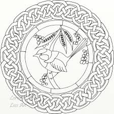 colouring in page mandala blue wren bird celtic knot