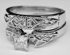 celtic wedding sets 18k white gold luxe celtic knot ring set with a 0 45 carat
