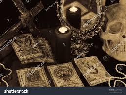 still life tarot cards mirror candles stock photo 526719985