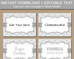 editable red black fancy food labels printable buffet cards