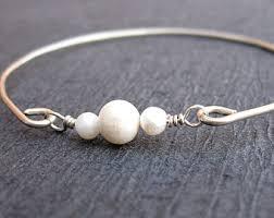 pearl silver bracelet images Pearl bangle etsy jpg