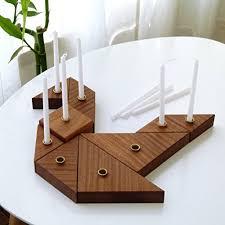 wooden menorah handmade hanukkah menorah inspired by tangram puzzle