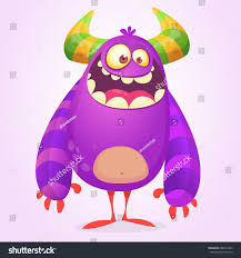 Cute Halloween Monsters by Cute Cartoon Fat Monster Purple Horned Stock Vector 688451803