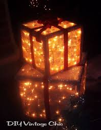 lighted christmas present boxes diy vintage chic how to make lighted christmas presents for outdoors