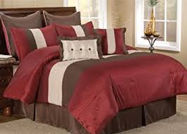 Queen Size Red Comforter Sets Amazon Com 8 Pc Modern Red Beige Brown Bed In A Bag