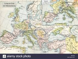 Historical Maps Of Europe by Historical Map The End Of Migration Period In Europe Stock Photo