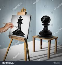 a painter leadership vision business concept chess game stock illustration