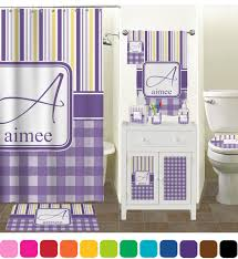 Lavender Bathroom Decor Purple Gingham U0026 Stripe Bathroom Accessories Set Personalized