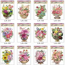 new arrival 5d flowers in the vase wall art decal stickers home