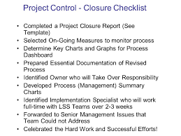 project closure report template ppt lean six sigma tools and techniques for continuous improvement