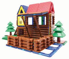 amazon com magformers log cabin 87 piece building set multicolor
