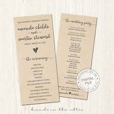 Ceremony Order For Wedding Programs Kraft Wedding Ceremony Program Bridal Party Lineup Order Of Events