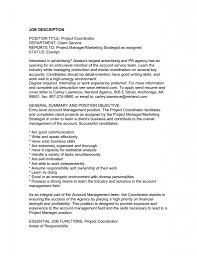 Resume Jobs Objective by Project Manager Job Description For Resume Resume For Your Job