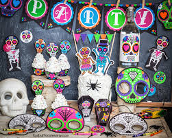 punk sugar skull day of the dead party printable decor kit dia zoom