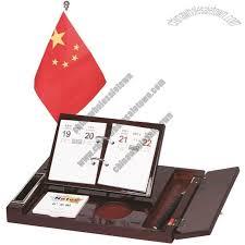Desk Calendar With Stand Wooden Business Gift Set With Desk Calendar Inkpad Memo Flag