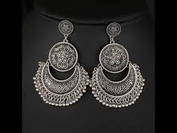 silver earring oxidised silver earring jhumka designs unique jewellery