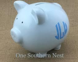 monogram piggy bank monogram piggy bank etsy