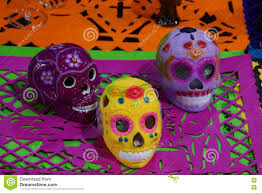 halloween in mexico ceramic skulls for the day of the dead festival in mexico stock