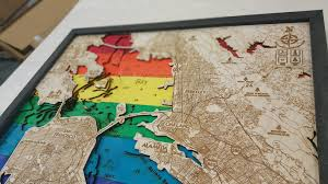 Sf Bay Map San Francisco Bay Pride 3d Wood Map U2022 Tahoe Wood Maps