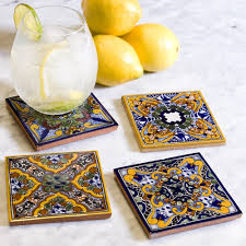 spanish garden hand painted coasters native trails