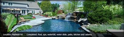 Backyard Pool With Slide - backyard swimming pools waterfalls u0026 natural landscaping nj